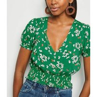 Green Floral Shirred Waist Crop Top New Look
