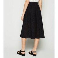Black Broderie Pocket Font Midi Skirt New Look