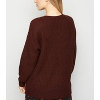 Petite Dark Brown Longline Knit Jumper New Look