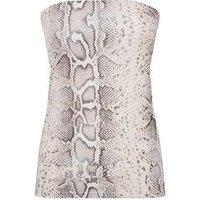 Pink Snake Print Longline Bandeau Top New Look