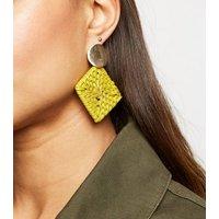 Yellow Raffia Square Drop Earrings New Look