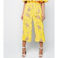 Cameo Rose Yellow Floral Belted Culottes New Look