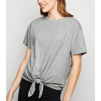 Grey Organic Cotton Blend Tie Front T-Shirt New Look