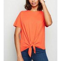 Orange Organic Cotton Tie Front T-Shirt New Look