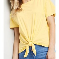Pale Yellow Organic Cotton Tie Front T-Shirt New Look