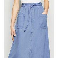 Blue Tie Waist Denim Midi Skirt New Look