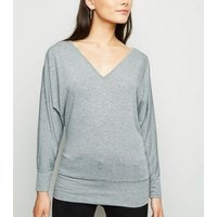 Grey V Neck Long Batwing Sleeve Top New Look