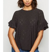 Black Broderie Oversized Frill Sleeve Top New Look