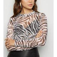 Black Zebra Print Mesh Long Sleeve Top New Look