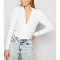 White Puff Sleeve Plunge Bodysuit New Look