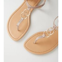 Rose Gold Diamanté Ring Strap Flat Sandals New Look