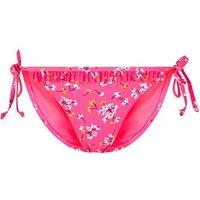 Pink Neon Floral Frill Tie Side Bikini Bottoms New Look