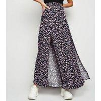Black Ditsy Floral Split Maxi Skirt New Look