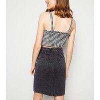 Black Acid Wash Button Front Denim Skirt New Look