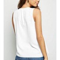 Off White Split Neck Sleeveless Top New Look