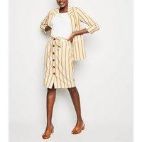 White Stripe High Waist Pencil Skirt New Look