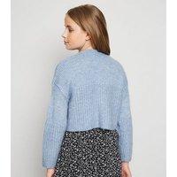 Girls Pale Blue Ribbed Hem Knit Jumper New Look