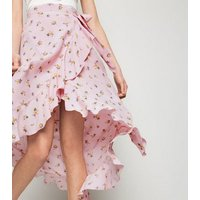 Pink Floral Ruffle Trim Wrap Midaxi Skirt New Look