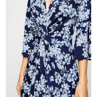 Blue Vanilla Blue Floral Twist Front Dress New Look