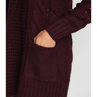 Burgundy Cable Knit Cardigan New Look