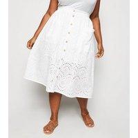 Curves White Broderie Midi Skirt New Look