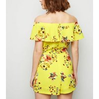 Cameo Rose Yellow Floral Bardot Playsuit New Look
