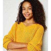 Girls Mustard V Neck Ribbed Jumper New Look