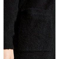 Black Ribbed Long Sleeve Longline Cardigan New Look