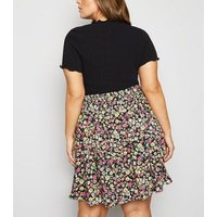 Curves Black Floral Button Up Skater Skirt New Look