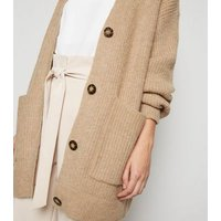 Camel Long Sleeve Button Up Knitted Cardigan New Look