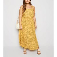 Curves Mustard Ditsy Floral Cheesecloth Maxi Dress New Look