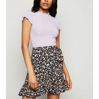 Petite Black Ditsy Floral Ruffle Trim Skirt New Look