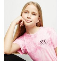 Girls Pink Tie Dye NYC Slogan T-Shirt New Look