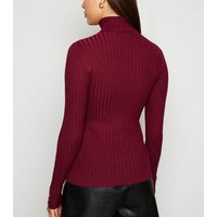 Burgundy Roll Neck Jumper New Look