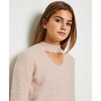 Girls Pale Pink Fluffy Choker Neck Jumper New Look