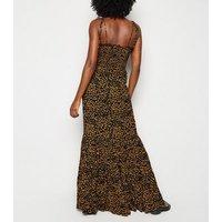 Tall Blue Leopard Print Shirred Maxi Dress New Look
