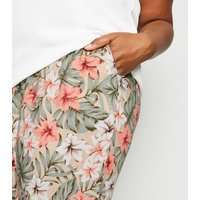 Curves Green Tropical Floral Woven Joggers New Look