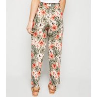 Petite Green Tropical Floral Joggers New Look
