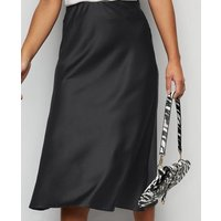 Petite Black Satin Bias Cut Midi Skirt New Look