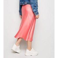Petite Mid Pink Satin Bias Cut Midi Skirt New Look