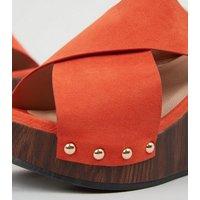 Wide Fit Orange Cross Strap Wedge Heels New Look