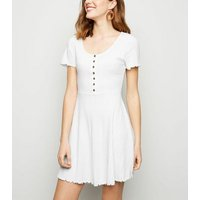 White Ribbed Button Up Skater Dress New Look