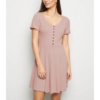 Pale Pink Ribbed Button Up Skater Dress New Look
