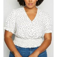 Curves White Spot Print Shirred Waist Top New Look