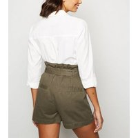 Khaki High Waist Belted Denim Utility Shorts New Look