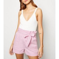Pale Pink High Waist Belted Denim Utility Shorts New Look