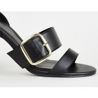 Wide Fit Black Leather-Look Buckle Strap Heels New Look