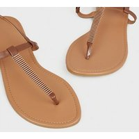 Wide Fit Tan Metal Studded Footbed Sandals New Look Vegan