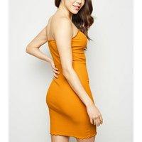 Bright Orange Frill Trim Strapless Mini Dress New Look