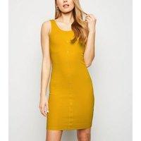 Mustard Ribbed Jersey Bodycon Mini Dress New Look